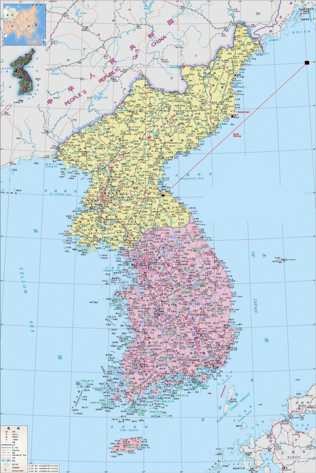Large detailed political map of Korean Peninsula in chinese