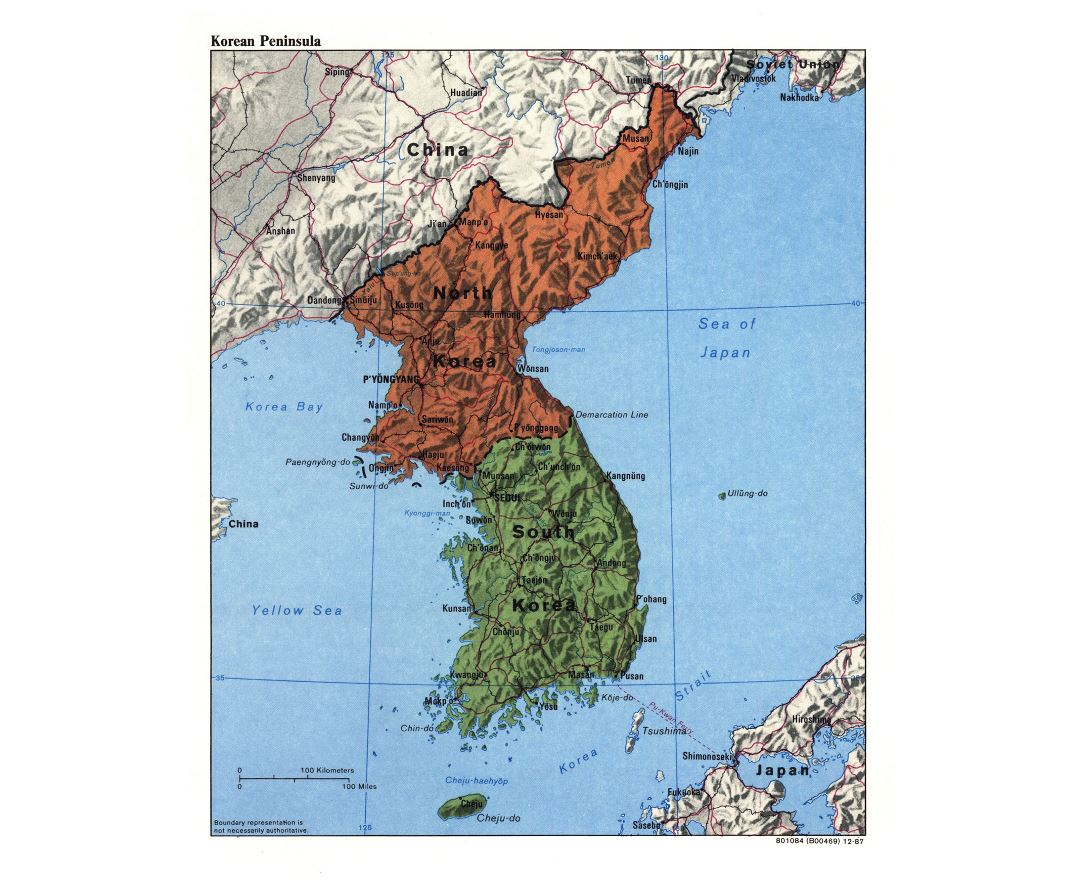 Large detailed political map of Korean Peninsula with relief, roads, railroads and major cities - 1987