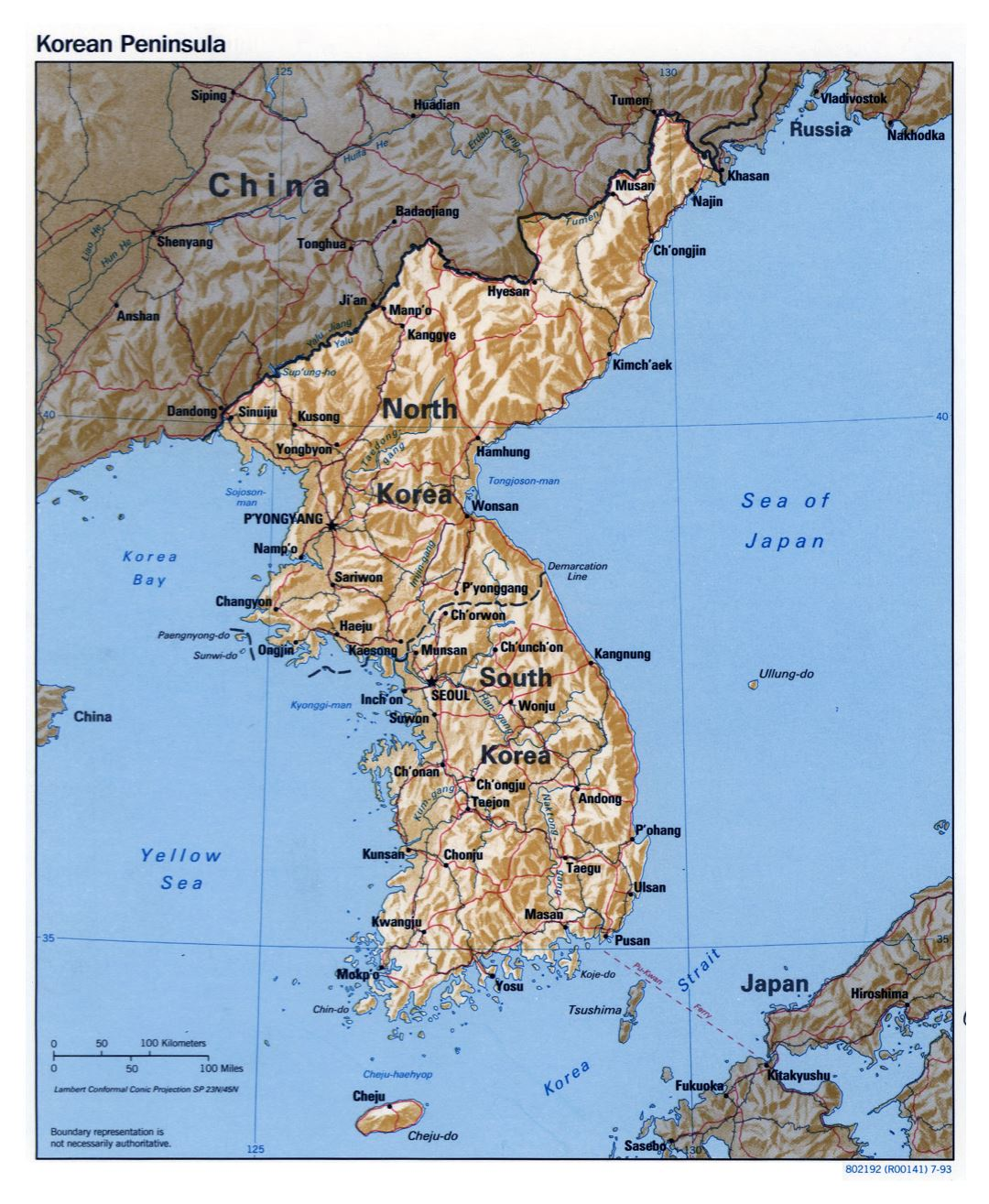 Large detailed political map of Korean Peninsula with relief, roads, railroads and major cities - 1993