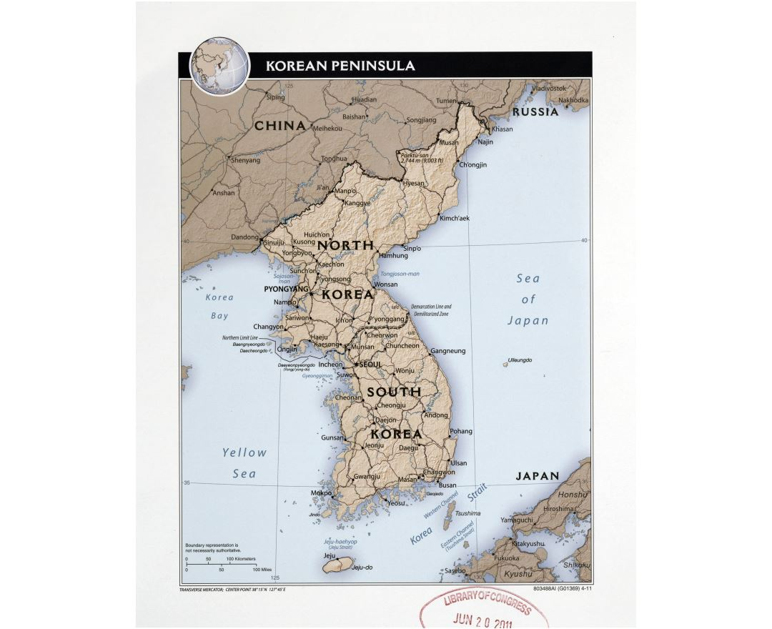 Large detailed political map of Korean Peninsula with relief, roads, railroads and major cities - 2011