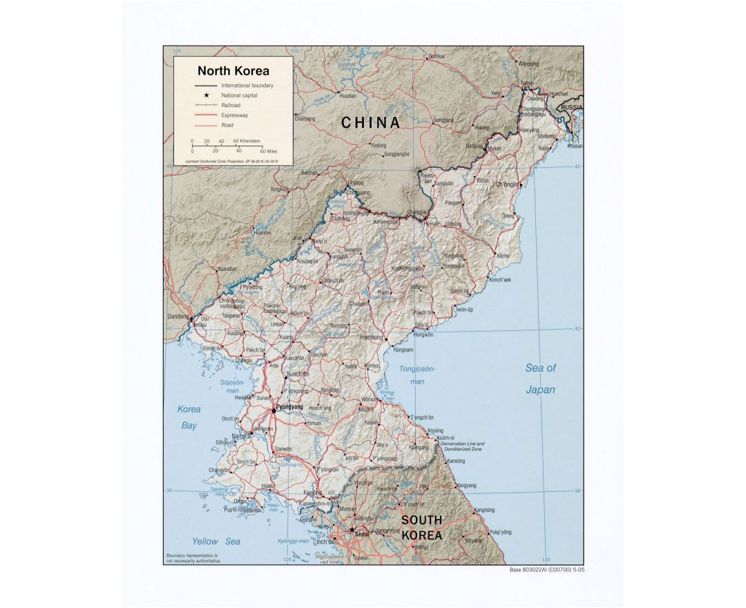 Large detailed political map of North Korea with relief, roads, railroads and major cities - 2005