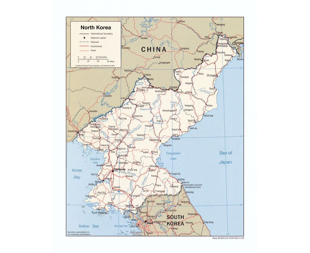 Large detailed political map of North Korea with roads, railroads and major cities - 2005