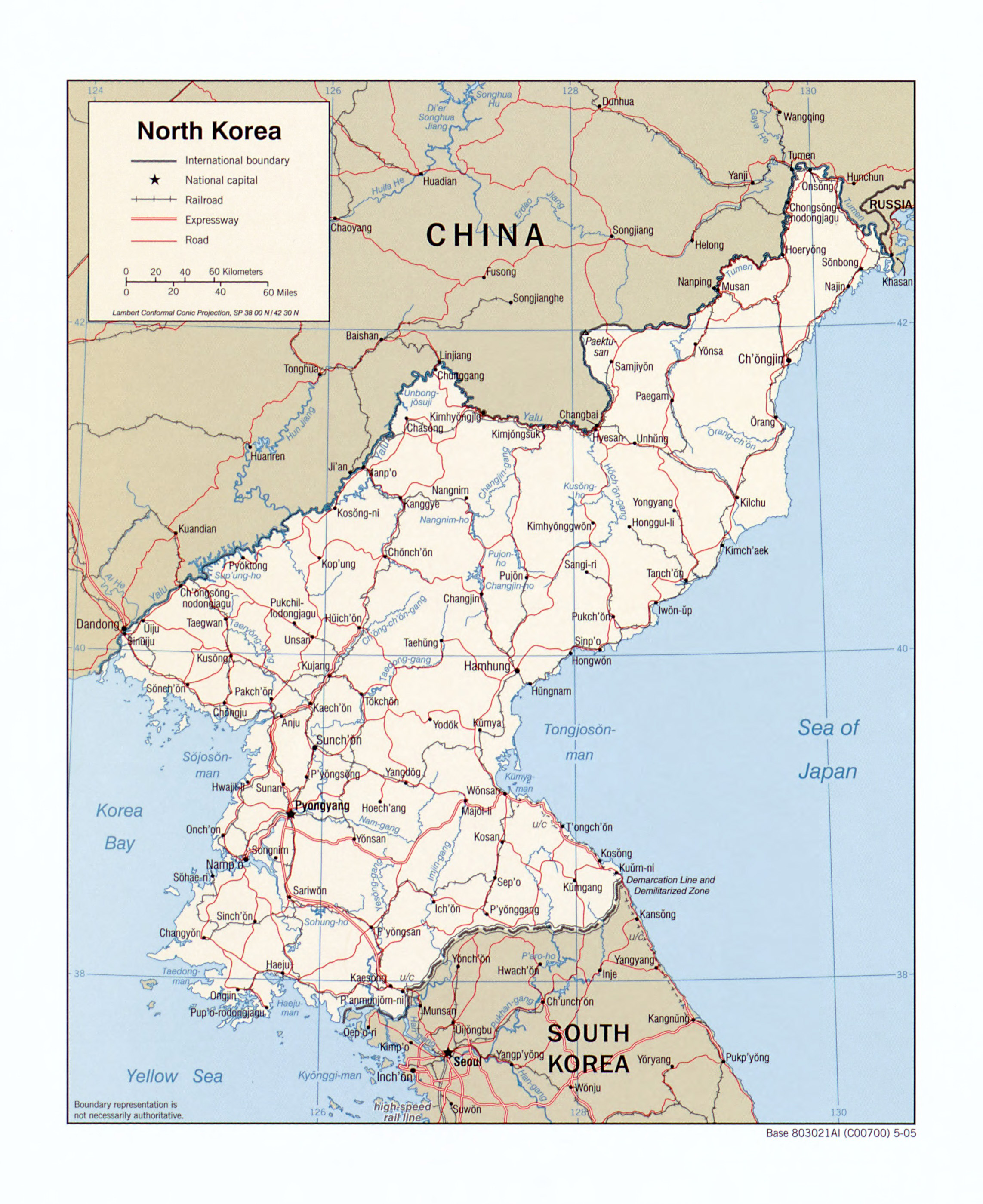 large detailed political map of north korea with roads railroads and major cities 2005