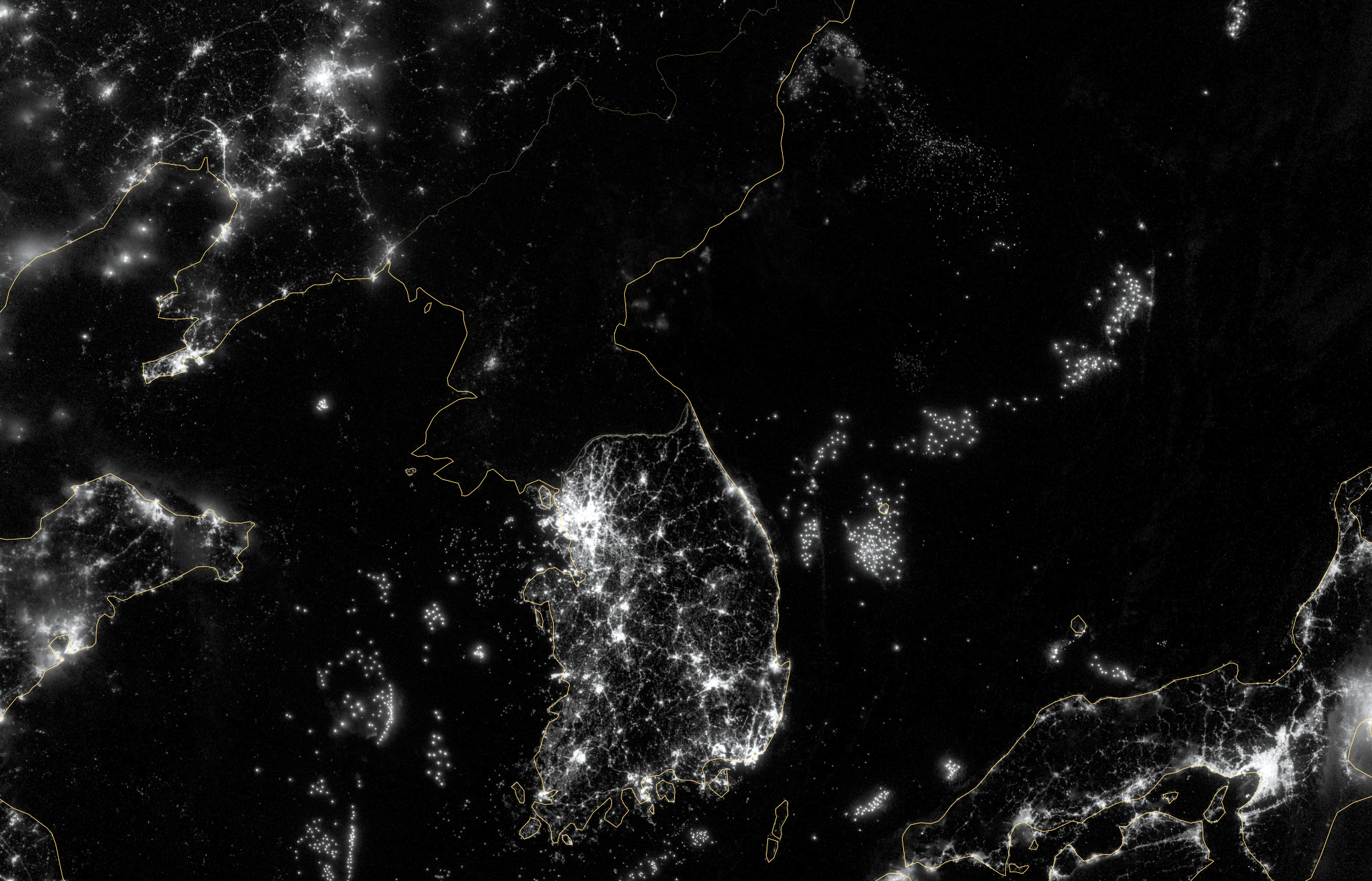 Large detailed satellite map of North Korea at night | North Korea