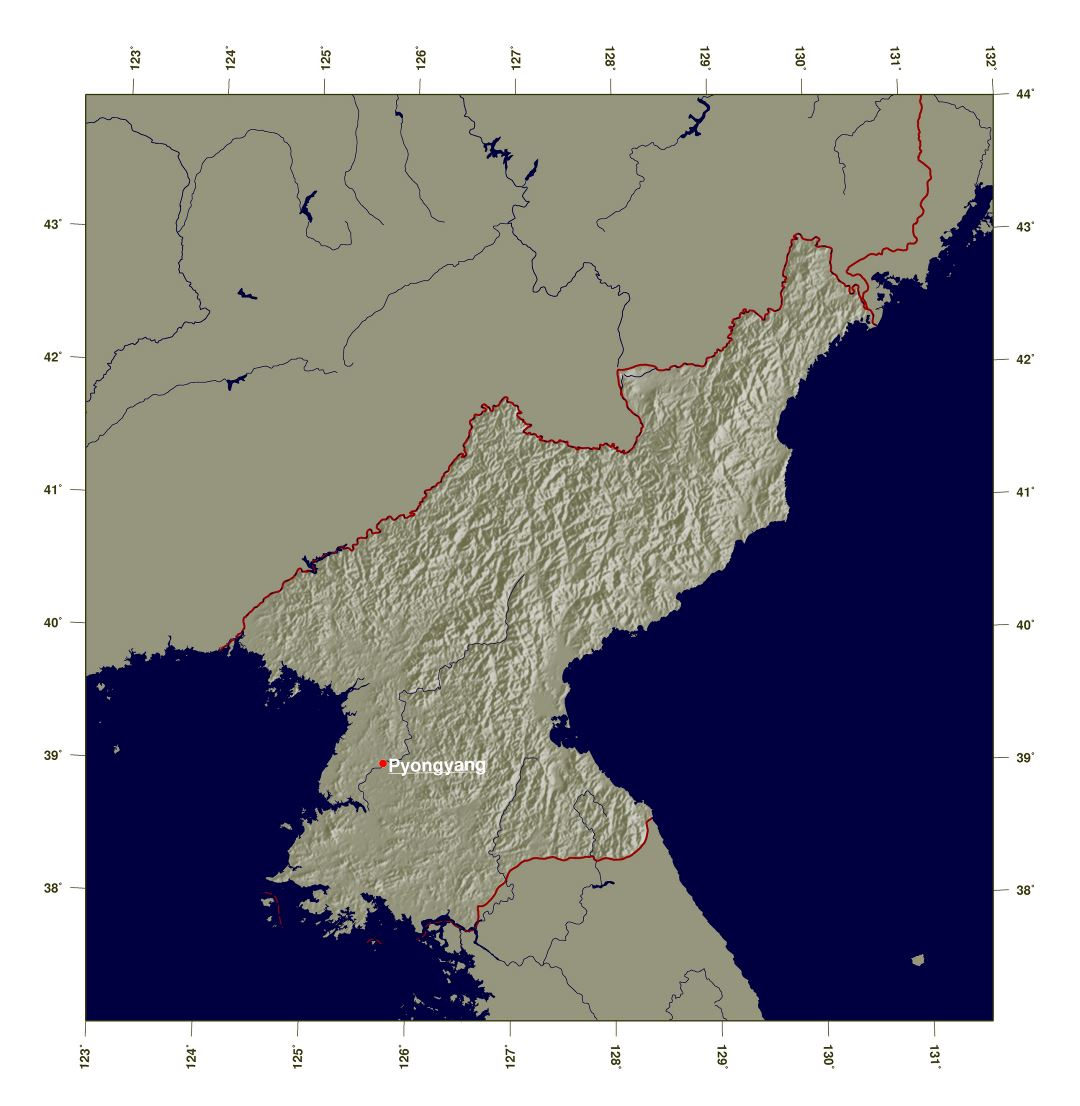 Large detailed shaded relief map of North Korea