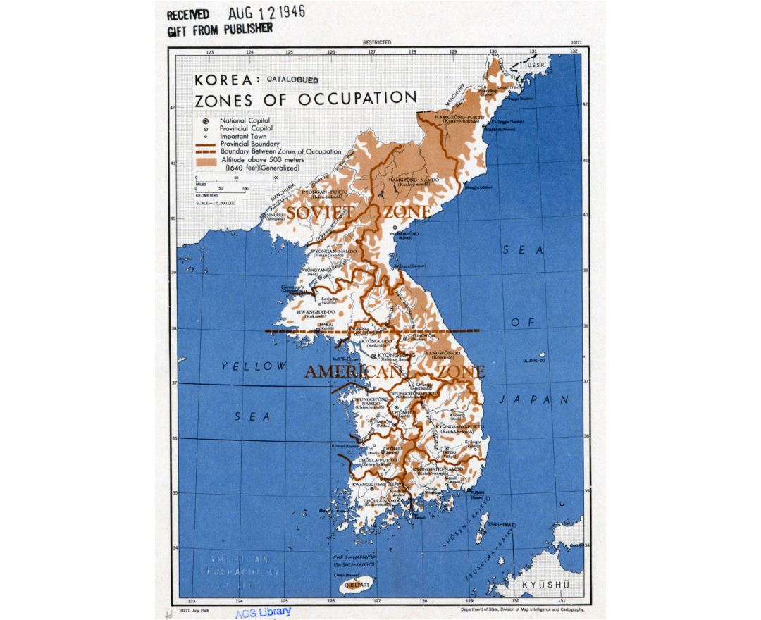 Maps of north korea detailed map of north korea in english large detailed zones of occupation of korea map 1946 gumiabroncs Image collections