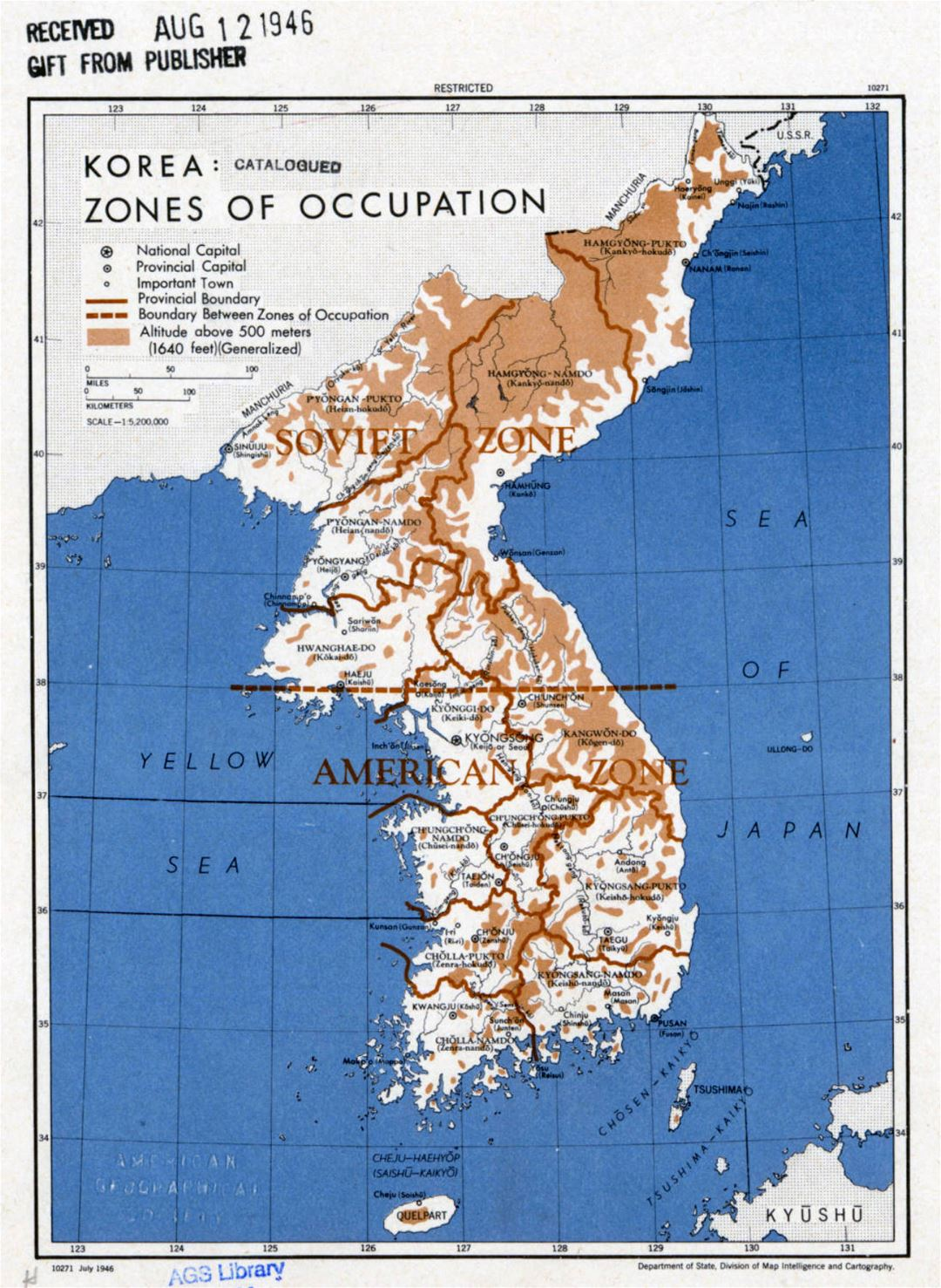 Large detailed Zones of Occupation of Korea map - 1946