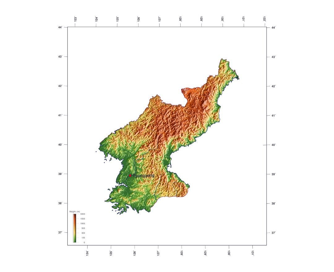 Large elevation map of North Korea
