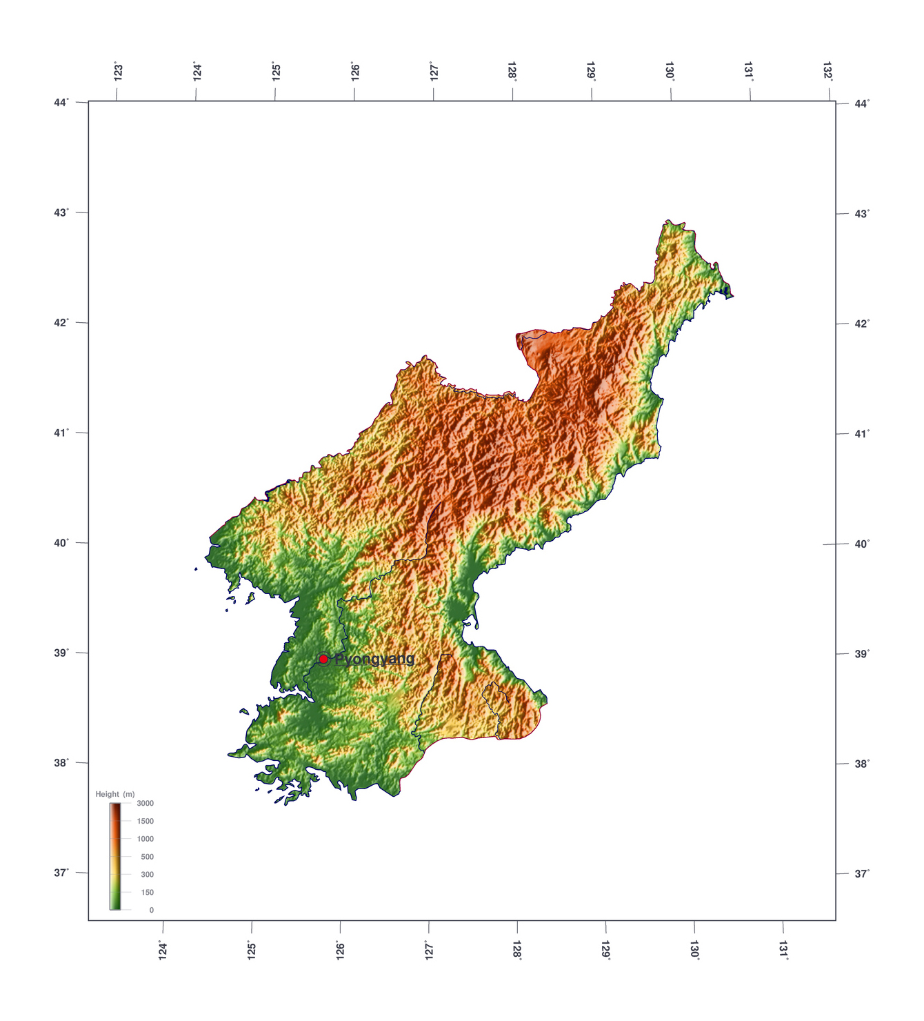 Large elevation map of north korea north korea asia mapsland large elevation map of north korea gumiabroncs Images