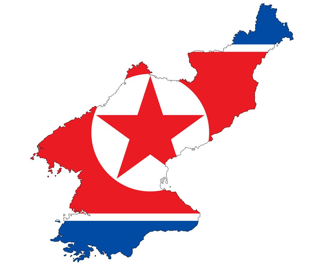 Large flag map of North Korea