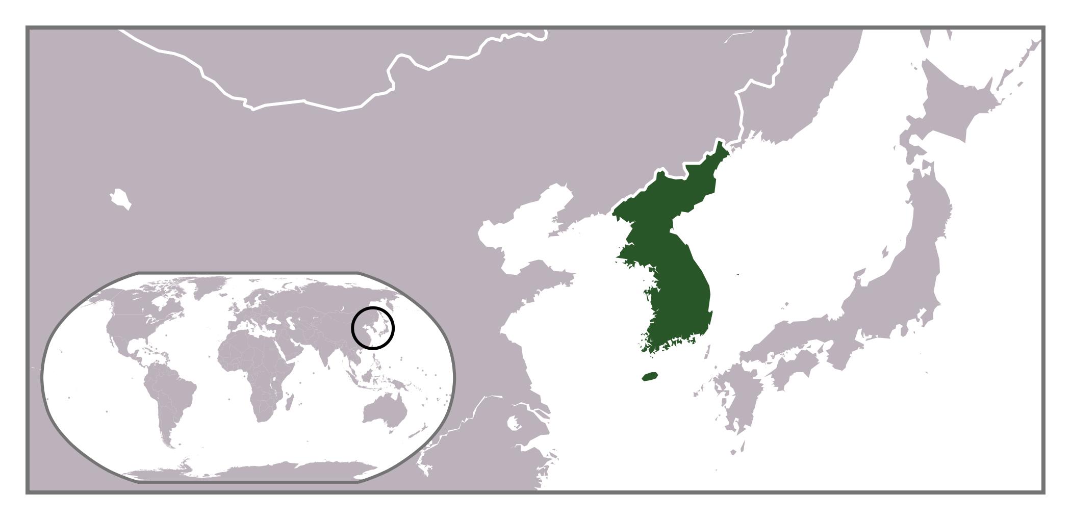 Korean Peninsula On World Map Large location map of Korean Peninsula | North Korea | Asia