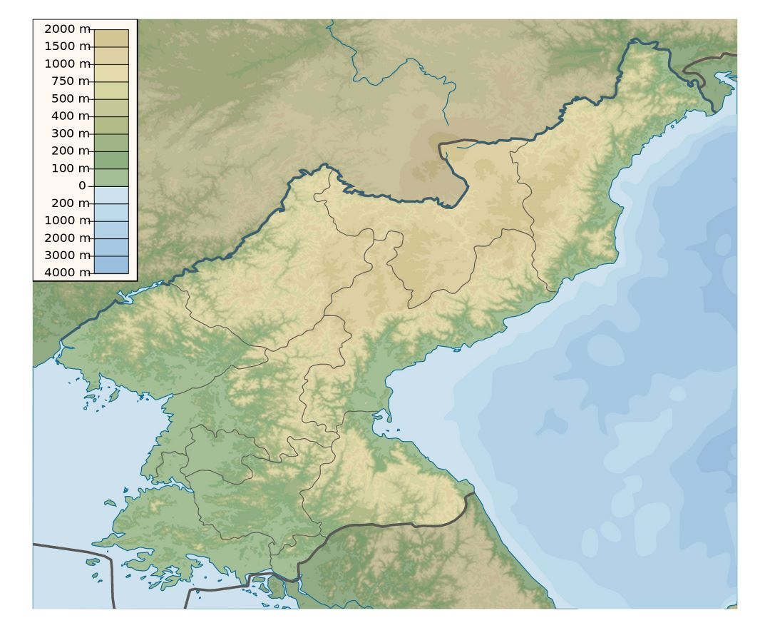 Large physical map of North Korea