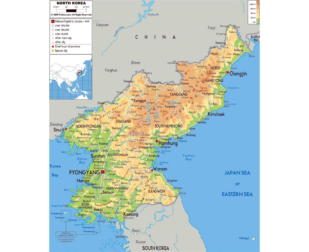 Maps of North Korea Detailed map of North Korea in English