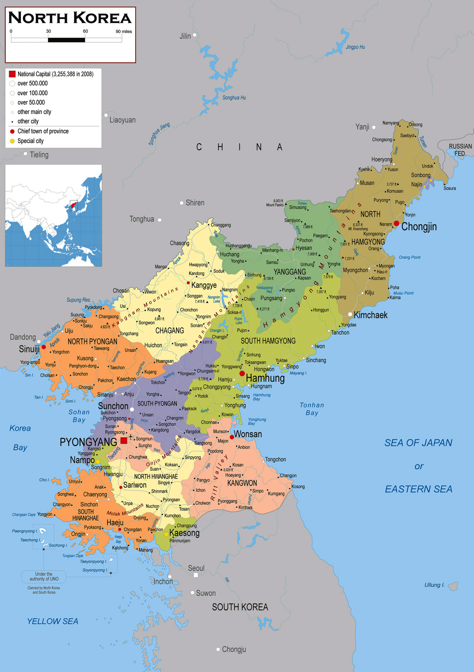 Large political and administrative map of North Korea (DPRK ...