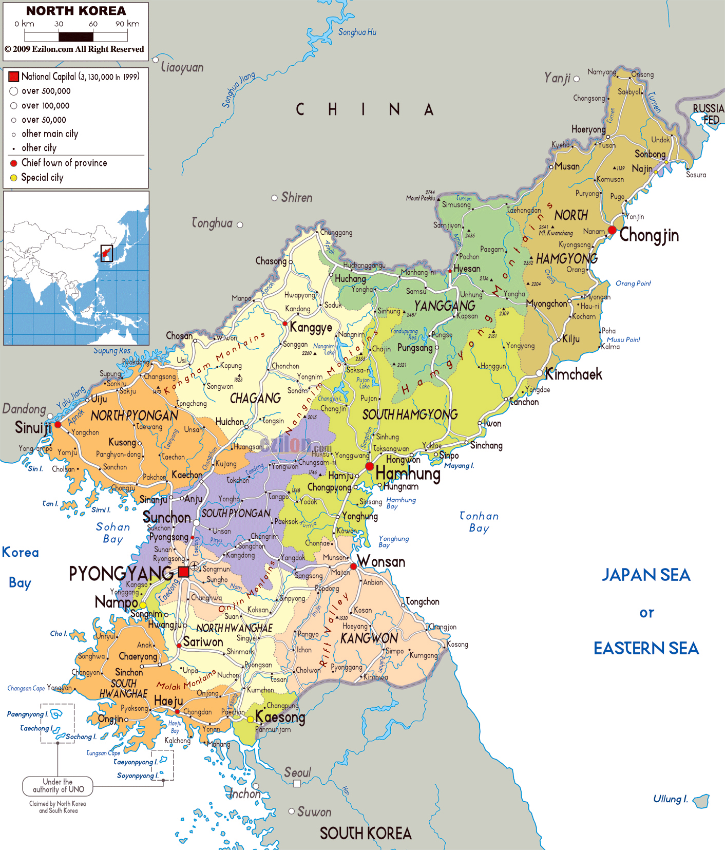Large political and administrative map of north korea with roads large political and administrative map of north korea with roads cities and airports gumiabroncs Choice Image