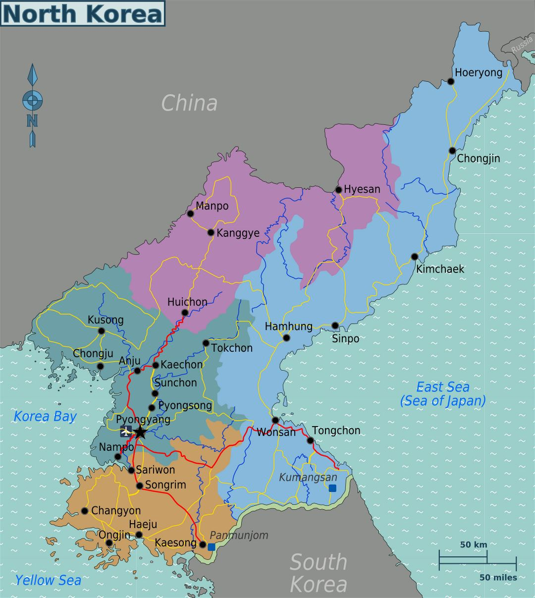 Large regions map of North Korea
