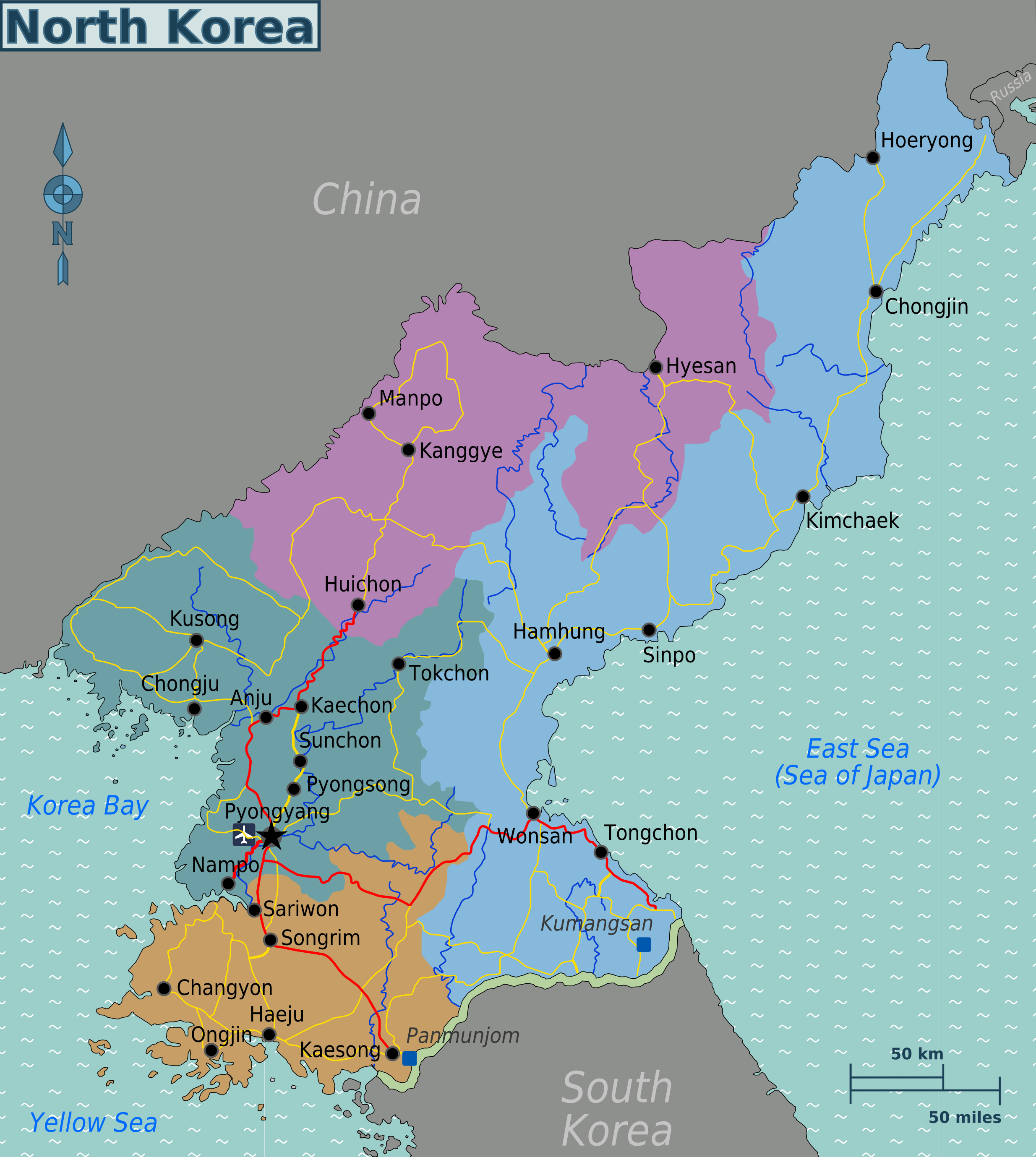 Large Regions Map Of North Korea North Korea Asia Mapsland