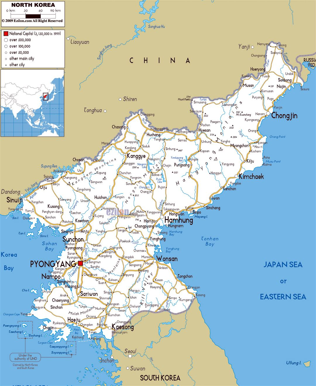 Large road map of North Korea with cities and airports