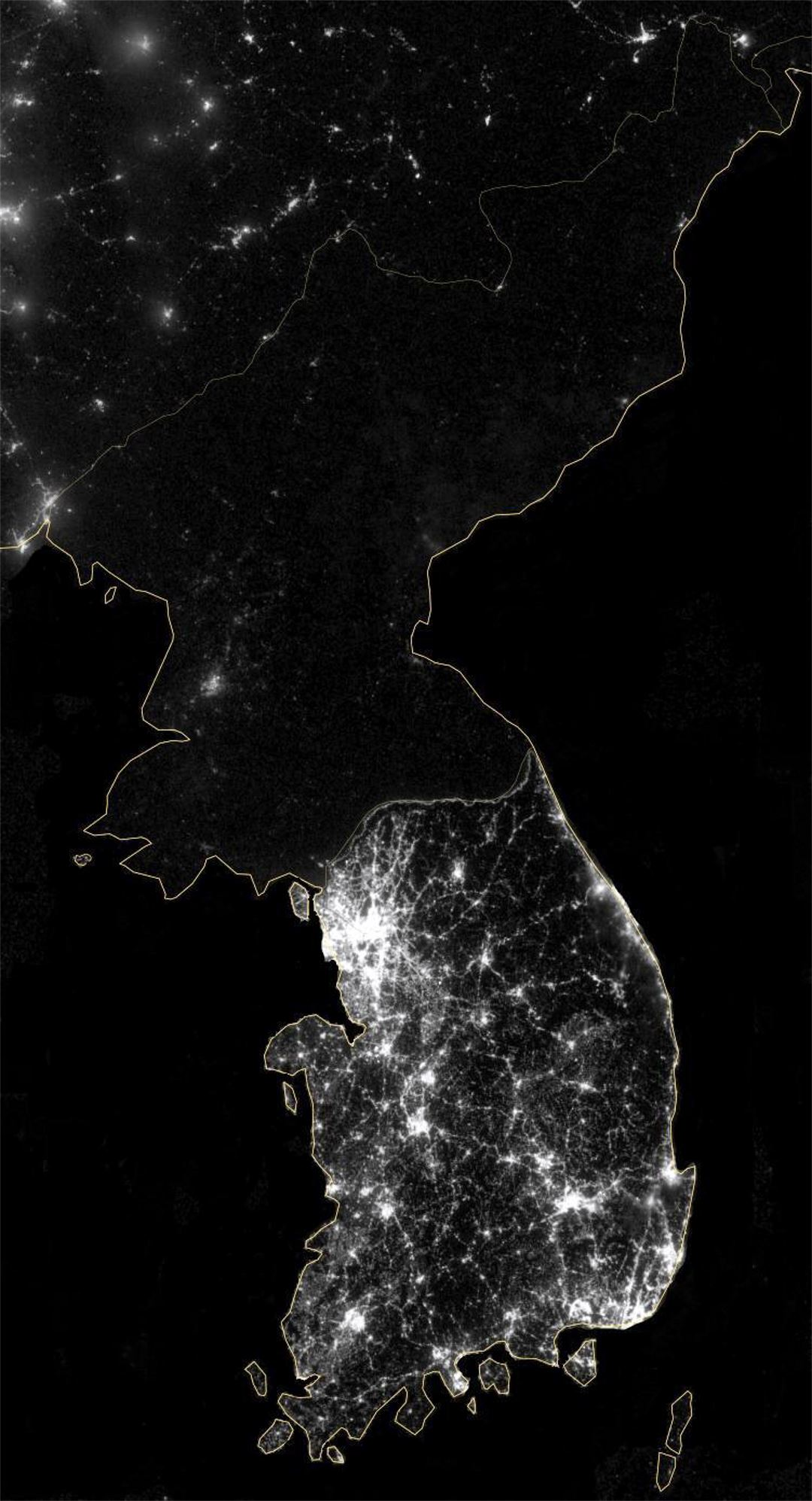 Large Satellite Map Of Korean Peninsula At Night North Korea - Map of the world from space at night
