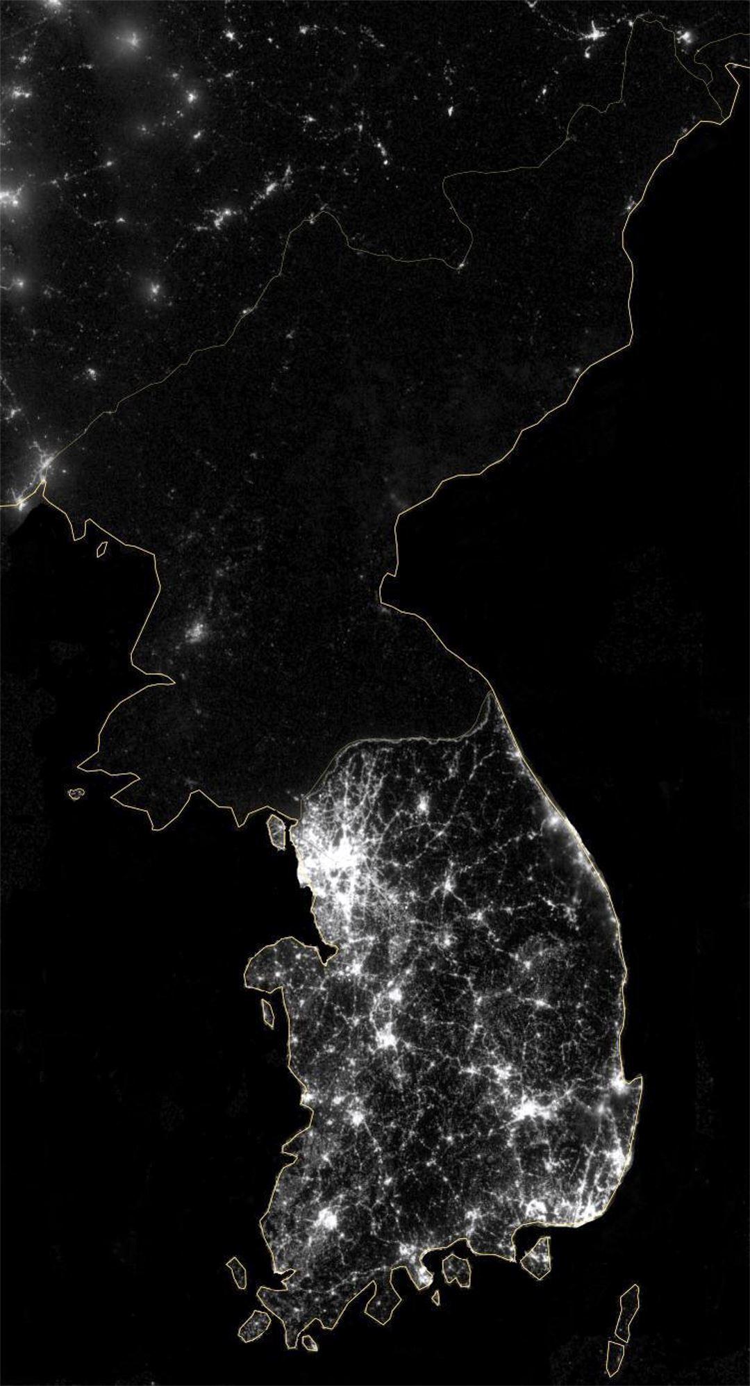 Large Satellite Map Of Korean Peninsula At Night North Korea