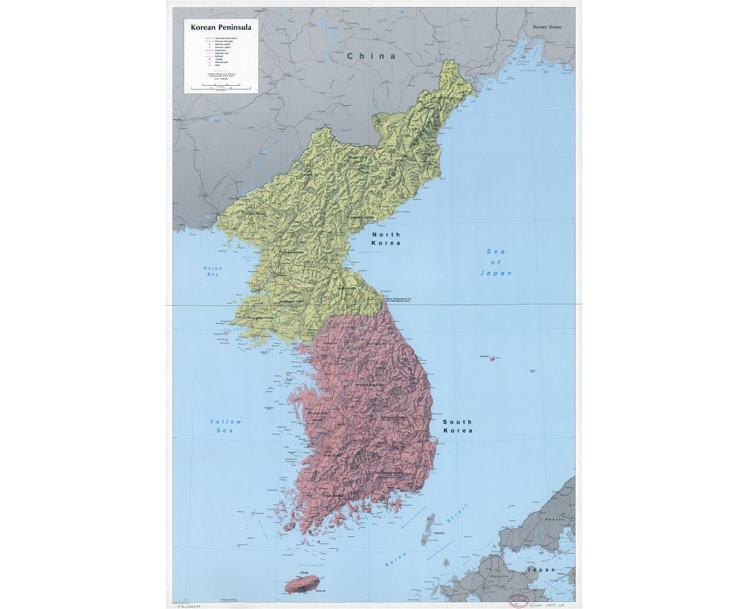 Large scale detailed political and administrative map of Korean Peninsula with relief, roads, railroads, cities, ports, airports and other marks - 1986