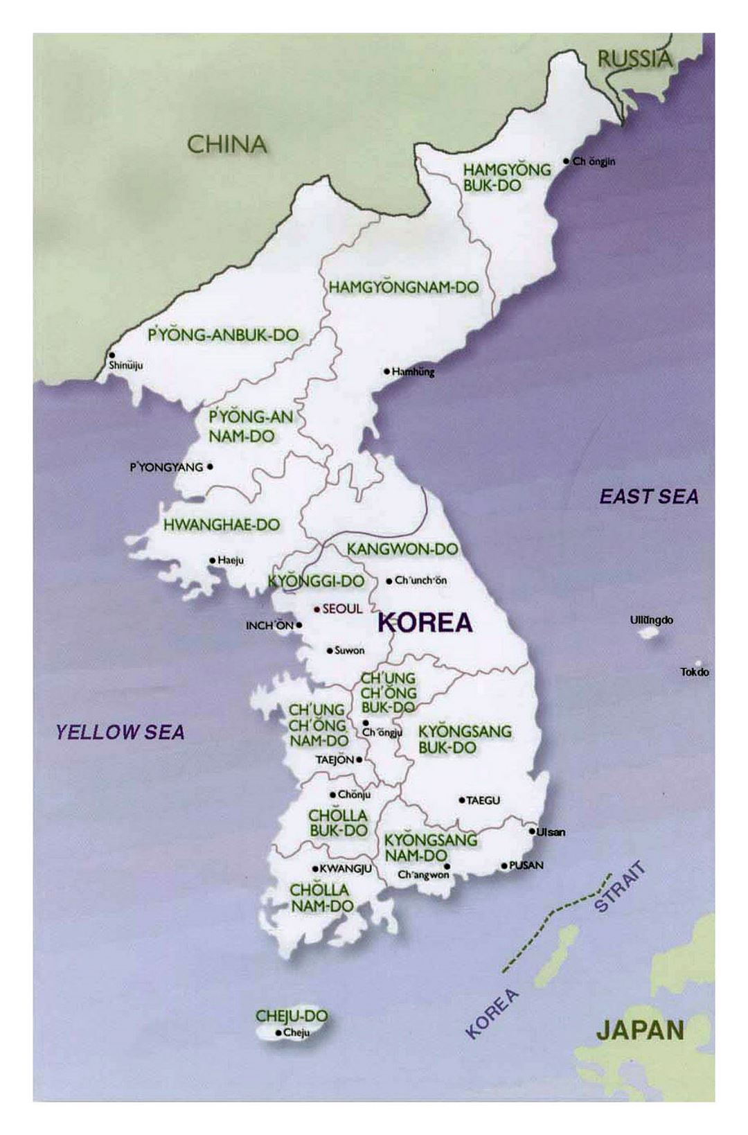 Political and administrative map of Korean Peninsula - 2001