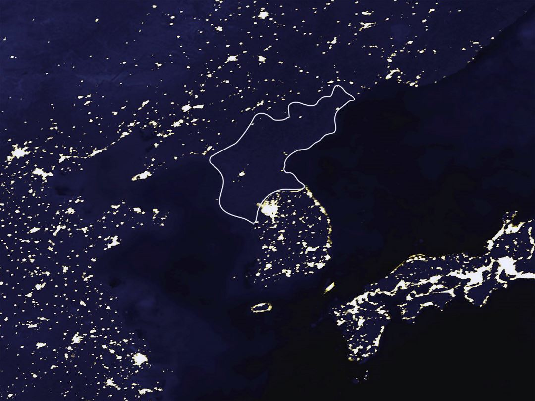 Satellite map of North Korea at night | North Korea | Asia