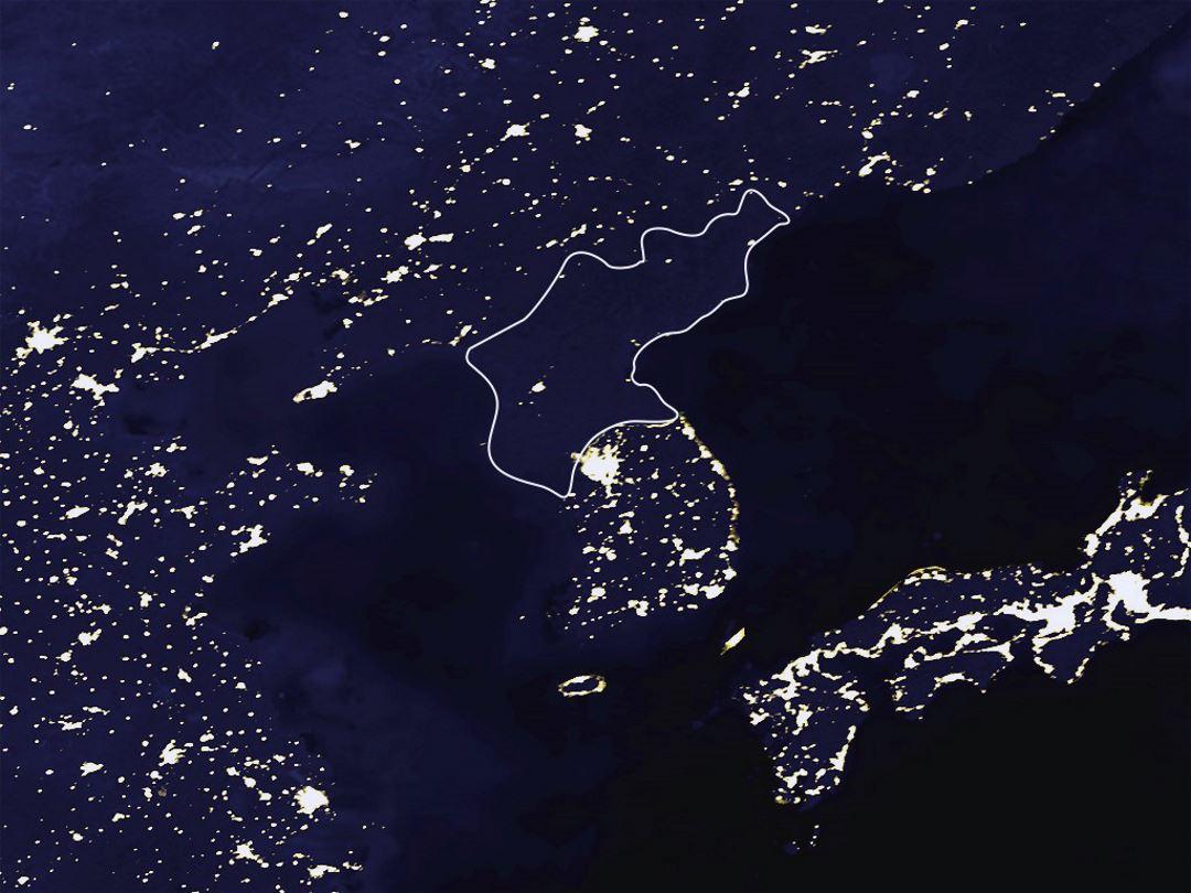 Satellite map of North Korea at night  North Korea  Asia