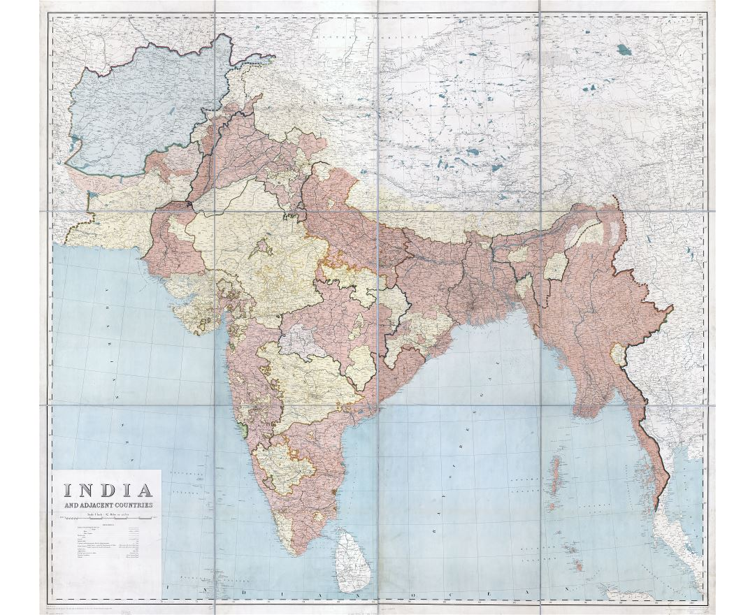 In high resolution detailed old map of India and adjacent countries - 1915