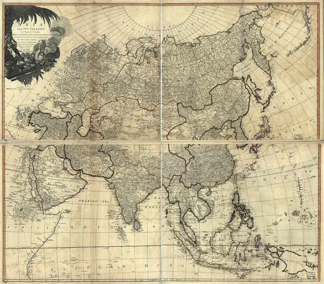 In high resolution old political map of Asia - 1799