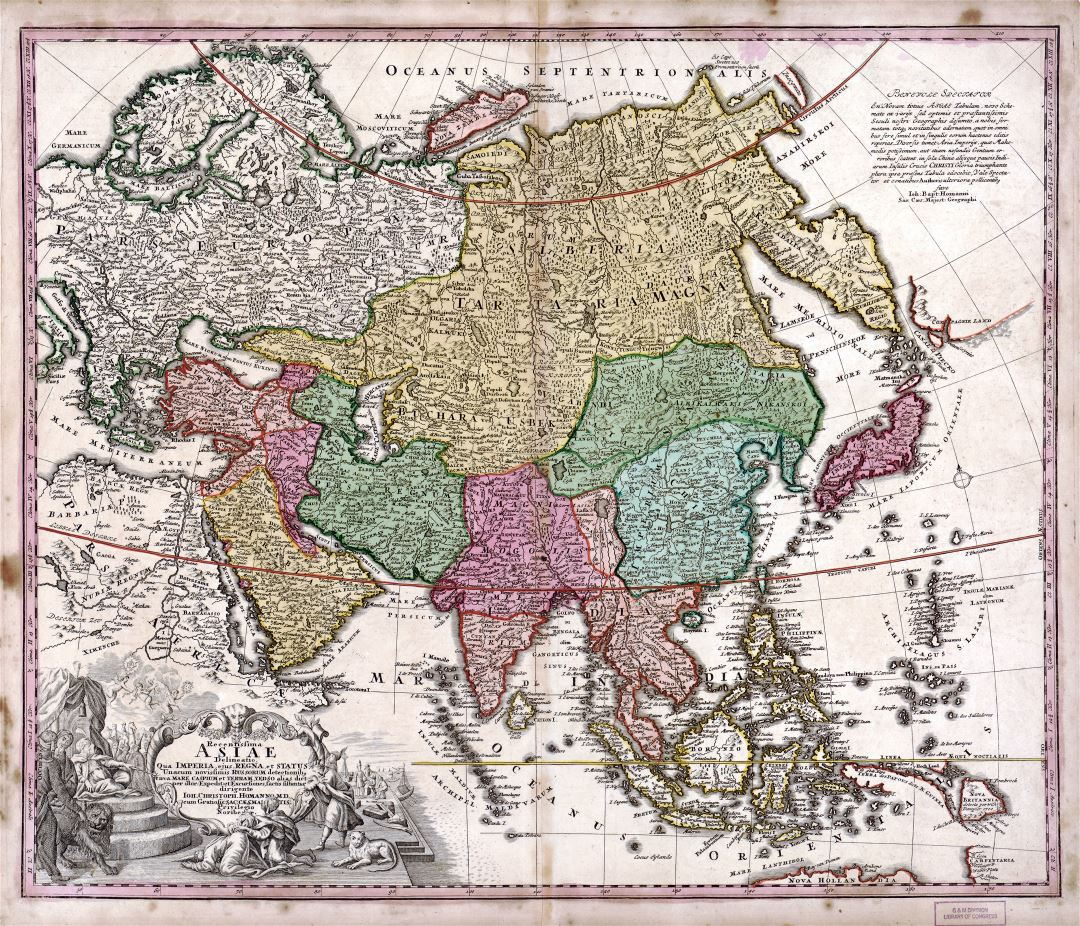 Large detaile old antique political map of Asia - 1743