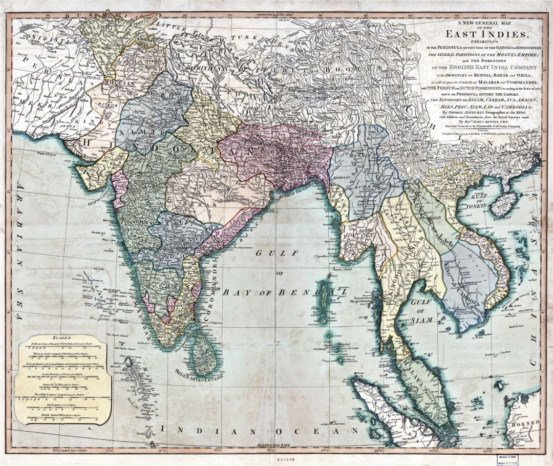 Large detailed antique general map of the East Indies - 1794