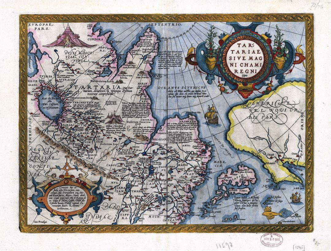 Large detailed antique map of Northern Asia - 1603