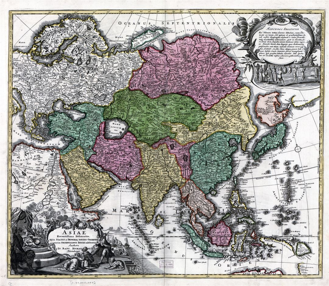 Large detailed antique political map of Asia - 17xx