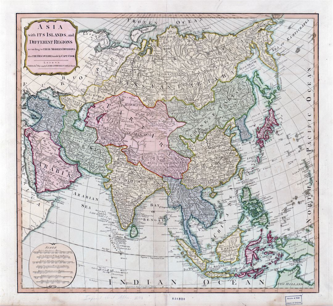 Large detailed Asia old political map - 1799