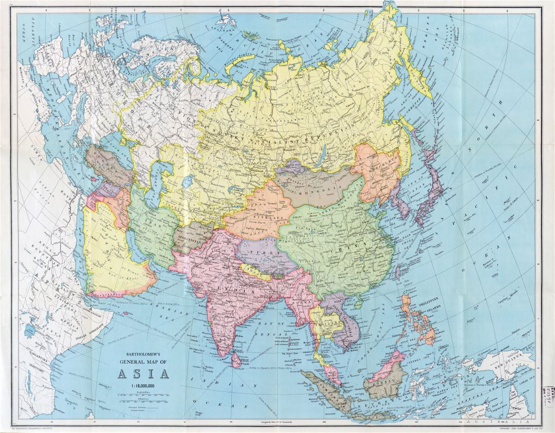 Large detailed old general map of Asia - 194x