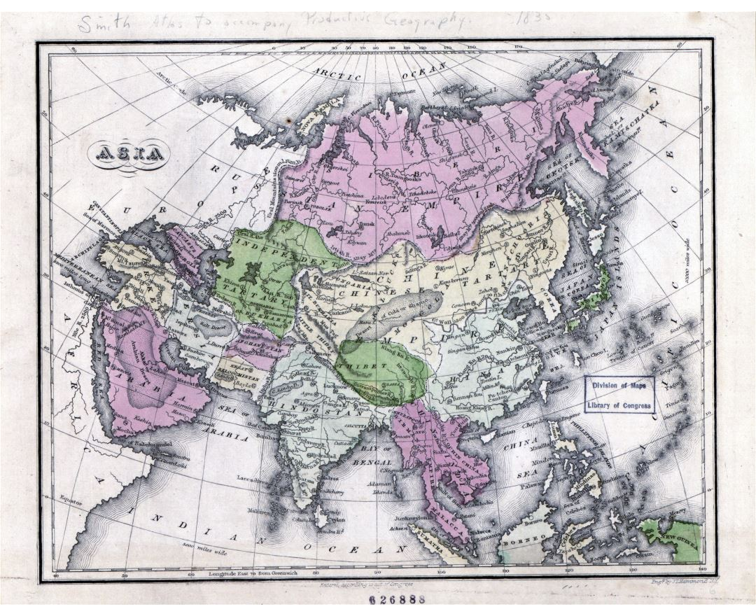 Large detailed old map of Asia - 1835
