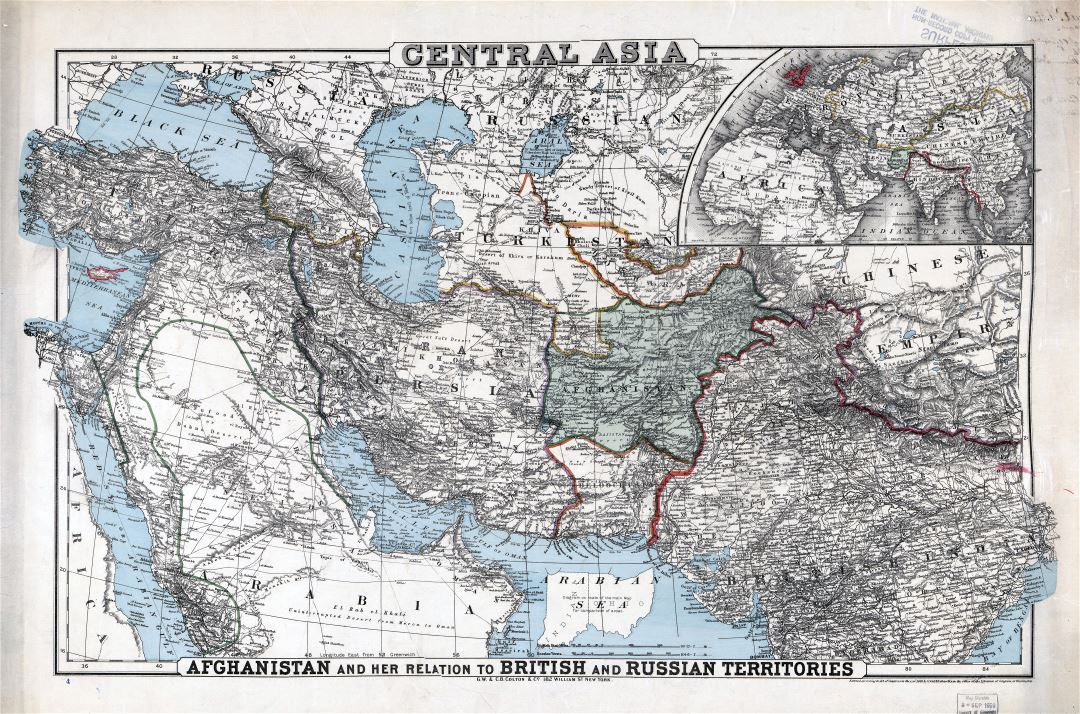 Large detailed old map of Central Asia - 1885