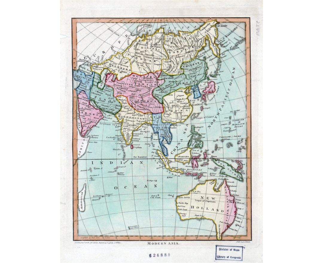 Large detailed old map of modern Asia - 1796
