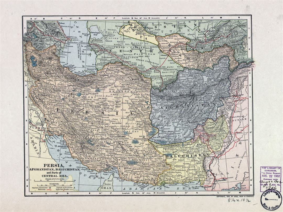 Large detailed old map of Persia, Afghanistan, Baluchistan and parts of Central Asia - 1902