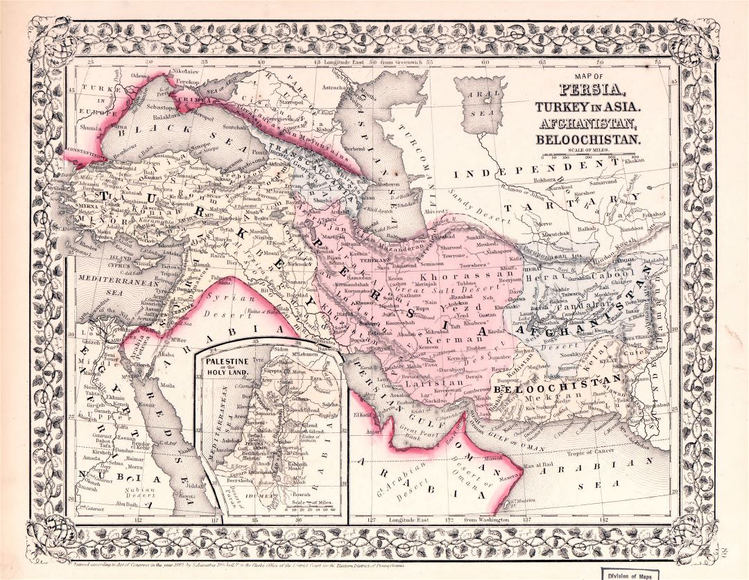 Large detailed old map of Persia, Turkey in Asia, Afghanistan and Beloochistan - 1869