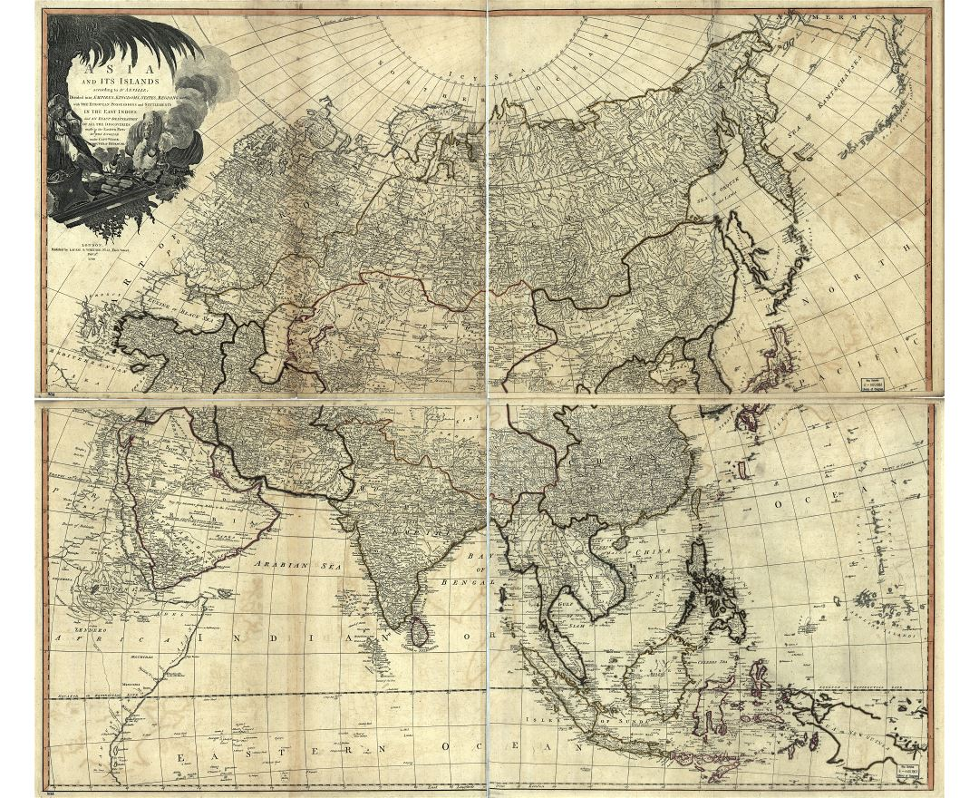 Large detailed old political map of Asia - 1799