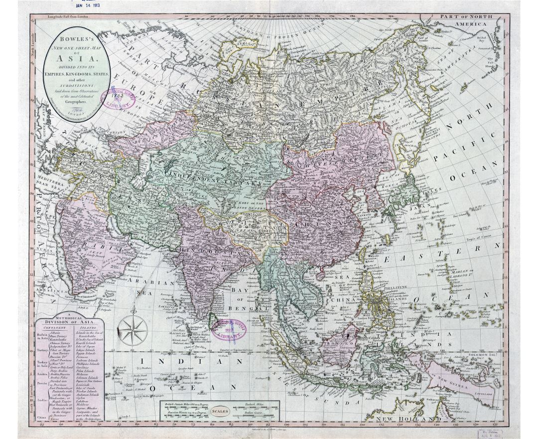 Large scale antique political map of Asia - 1791