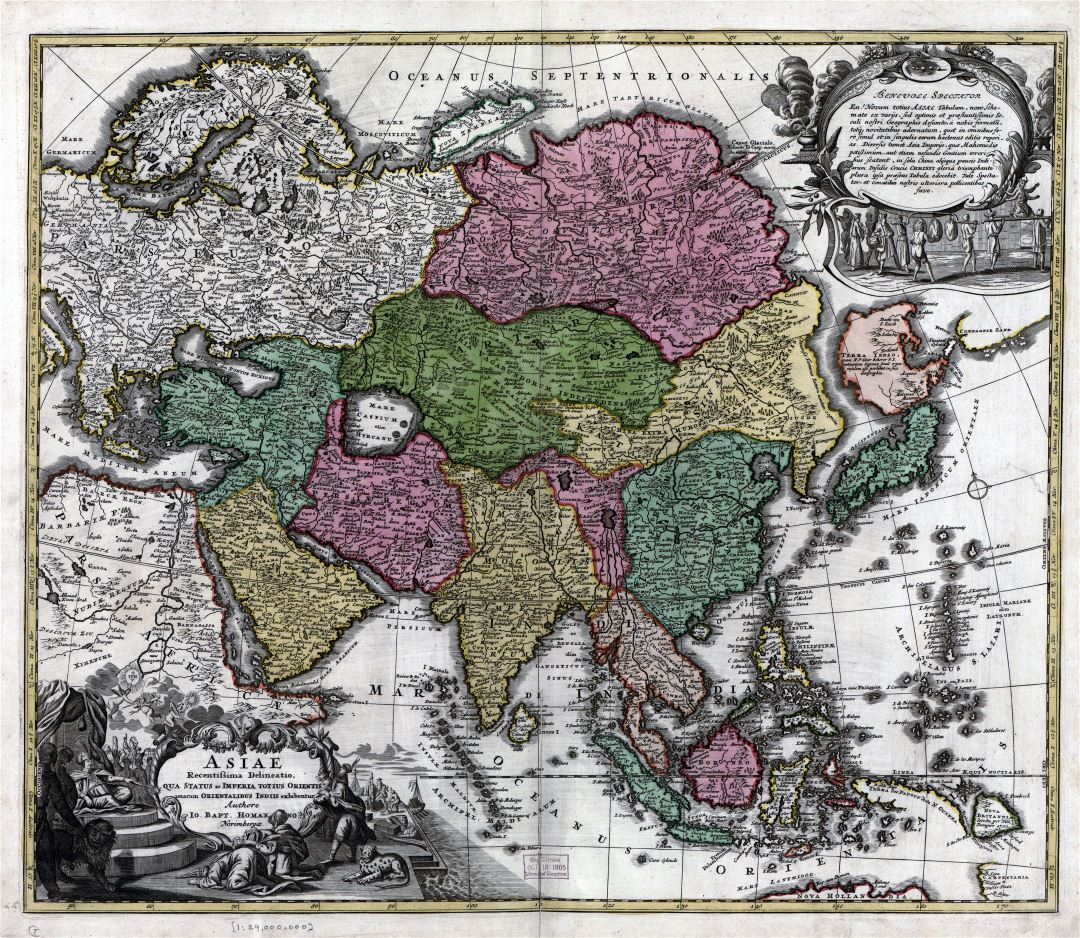 Large scale antique political map of Asia - 17xx