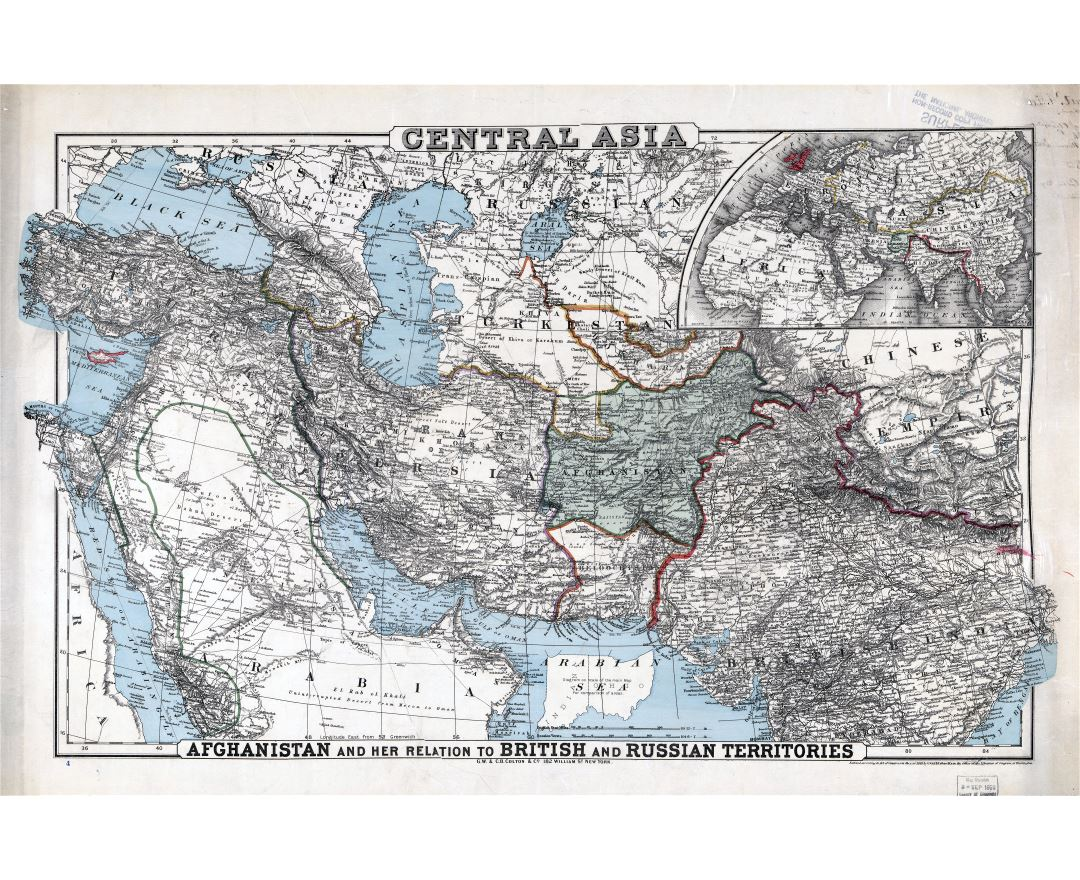 Large scale detailed old map of Central Asia - 1885