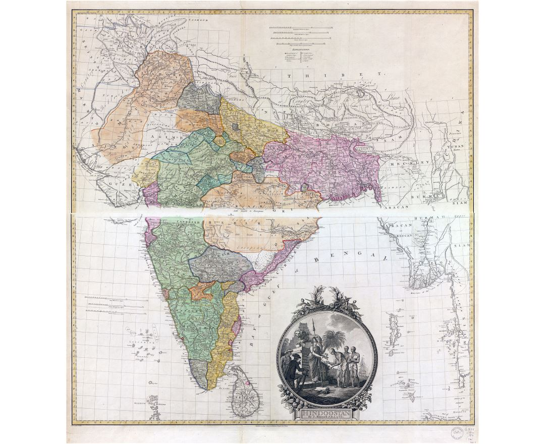 Large scale detailed old map of Hindoostan (South Asia) - 1782