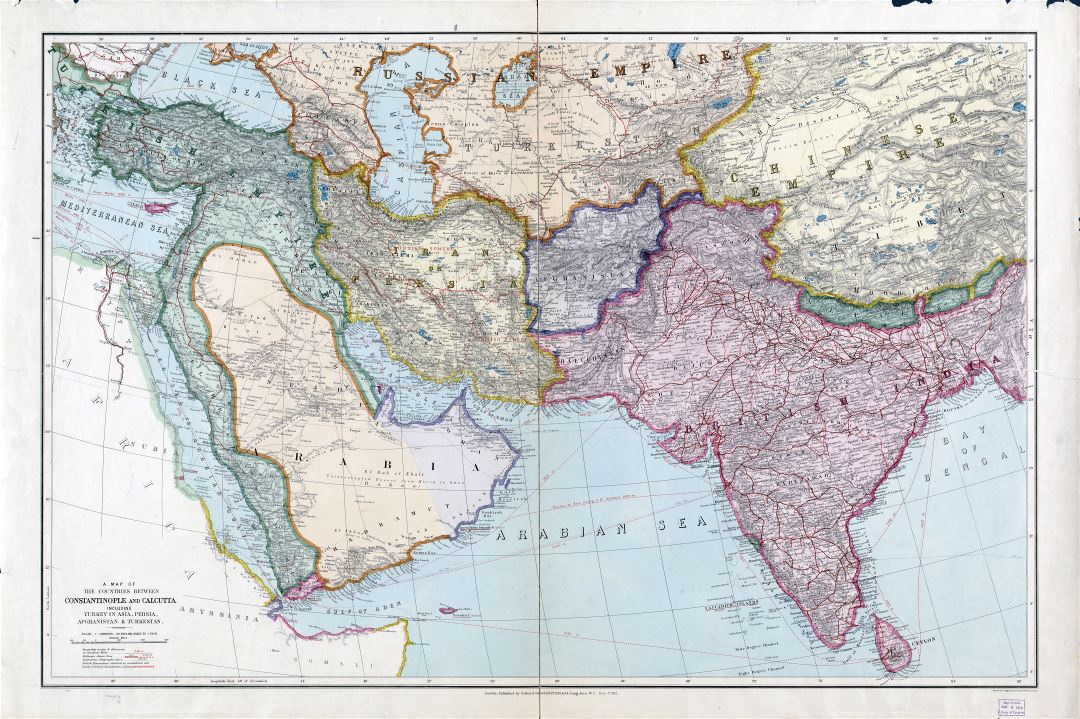Large scale detailed old map of the countries between Constantinople and Calcutta including Turkey in Asia, Persia, Afghanistan and Turkestan - 1912