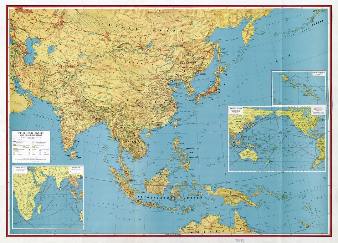 Large scale detailed old map of the Far East and adjoining areas - 1943