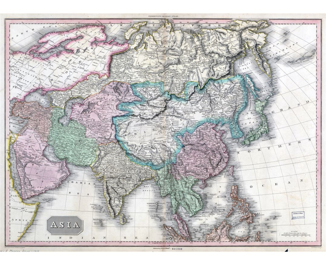 Large scale detailed old political map of Asia with relief - 1818