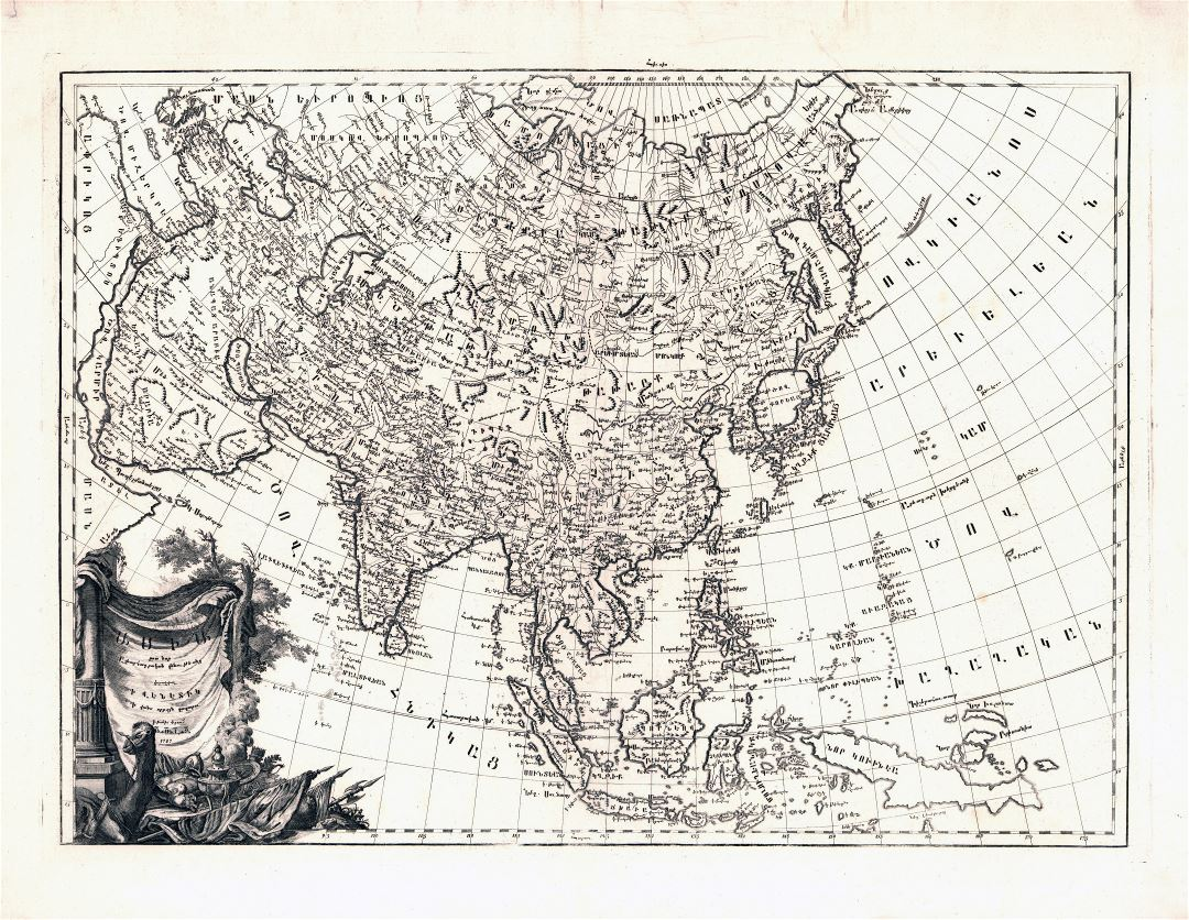 Large scale old antique map of Asia - 1787